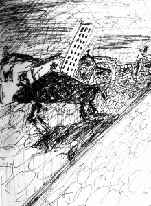 BULL ON THE STREETS SKETCH
