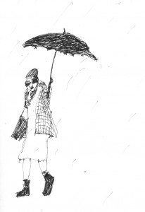 old lady with umbrella sketch