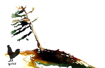 Canadian Tree Art Prints: Pine Tree On A Rock | detail of the painting | Francesco Galle contemporary art artist prints for sale, Toronto art studio