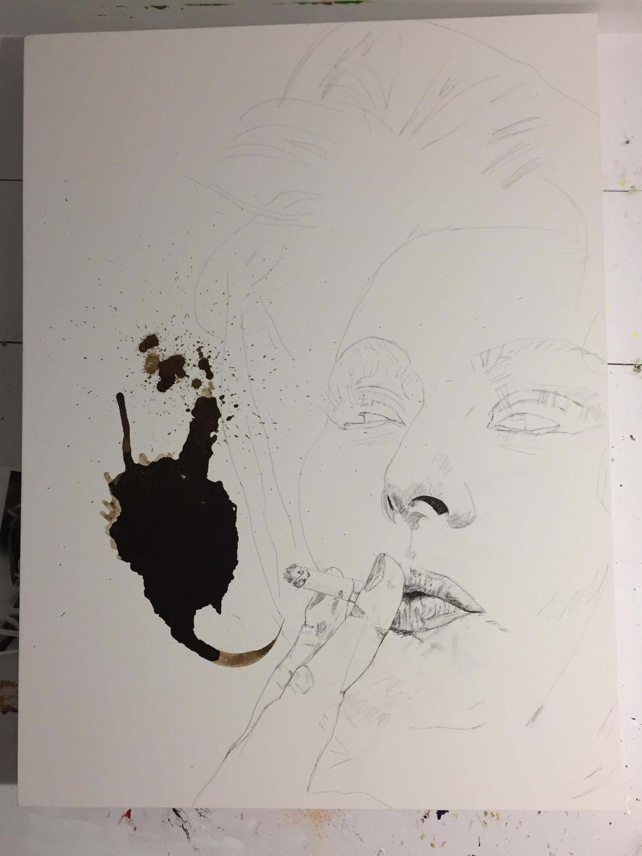 Italian Icons Series: Sofia Loren   step 1 in my process   Francesco Galle contemporary art artist prints for sale, Toronto art studio