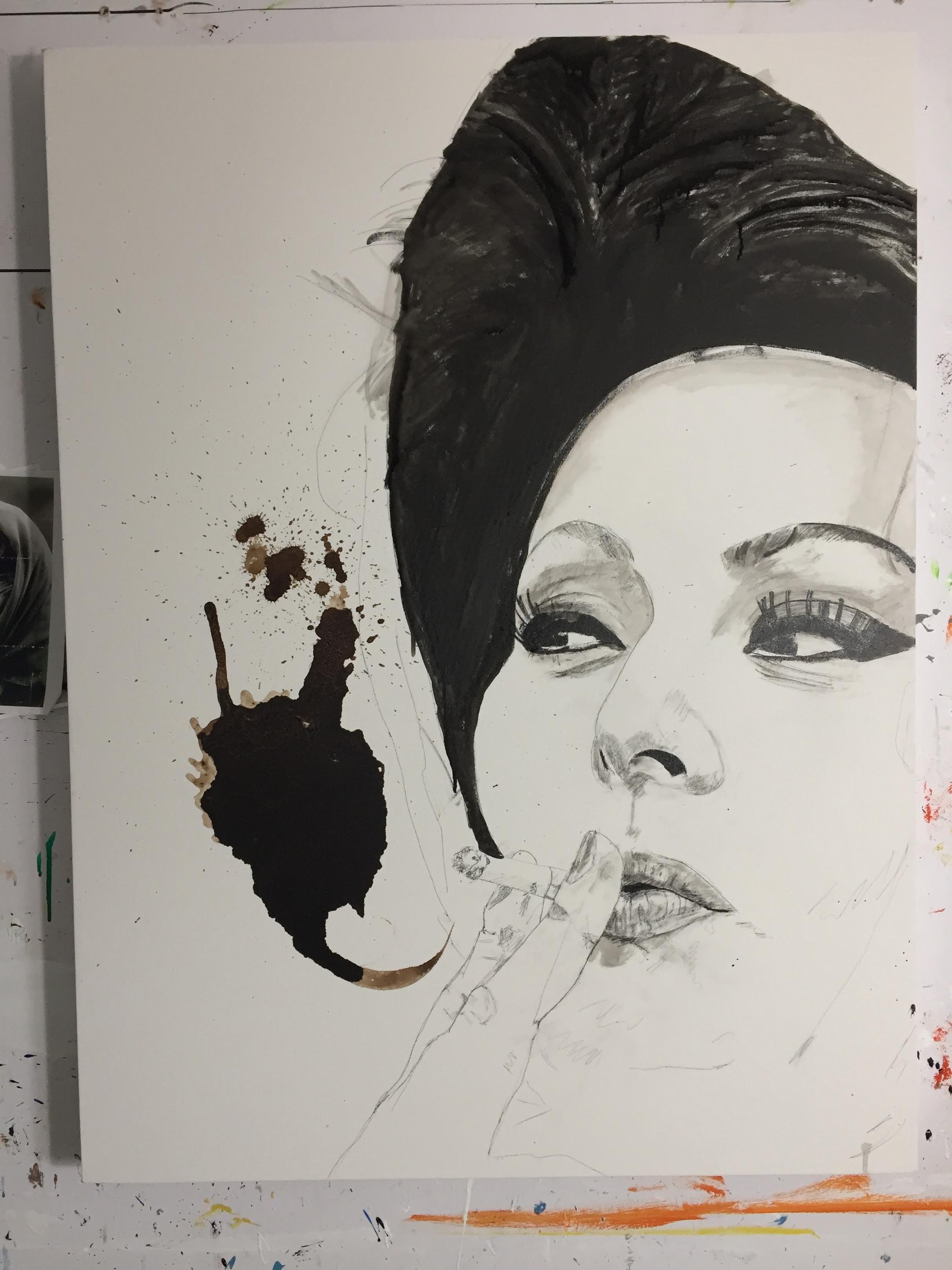 Italian Icons Series: Sofia Loren   step 2 in my process   Francesco Galle contemporary art artist prints for sale, Toronto art studio