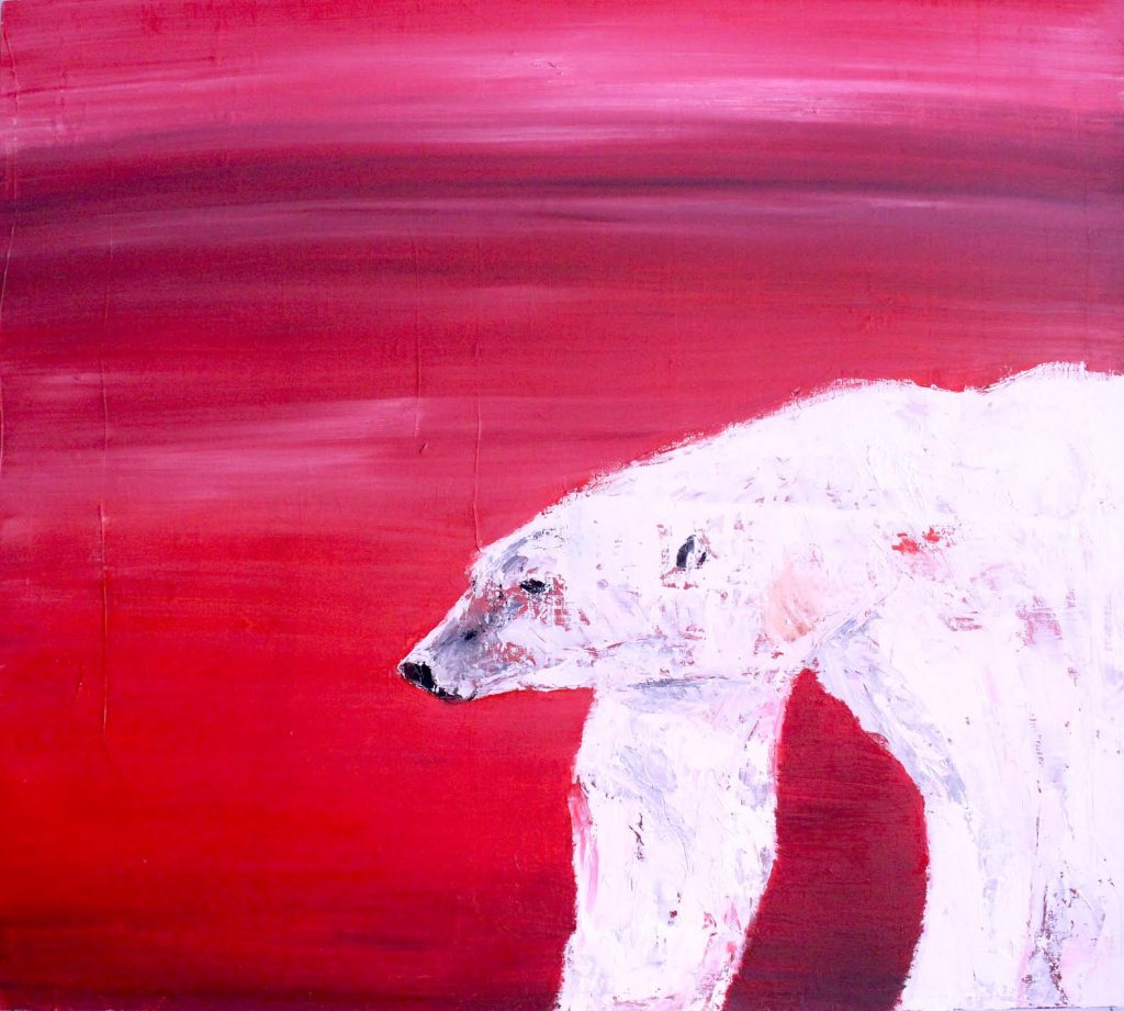 Italian Art Prints: Commissioned Work For Tutto Pronto | polar bear Canadian flag | Francesco Galle contemporary art artist prints for sale, Toronto art studio